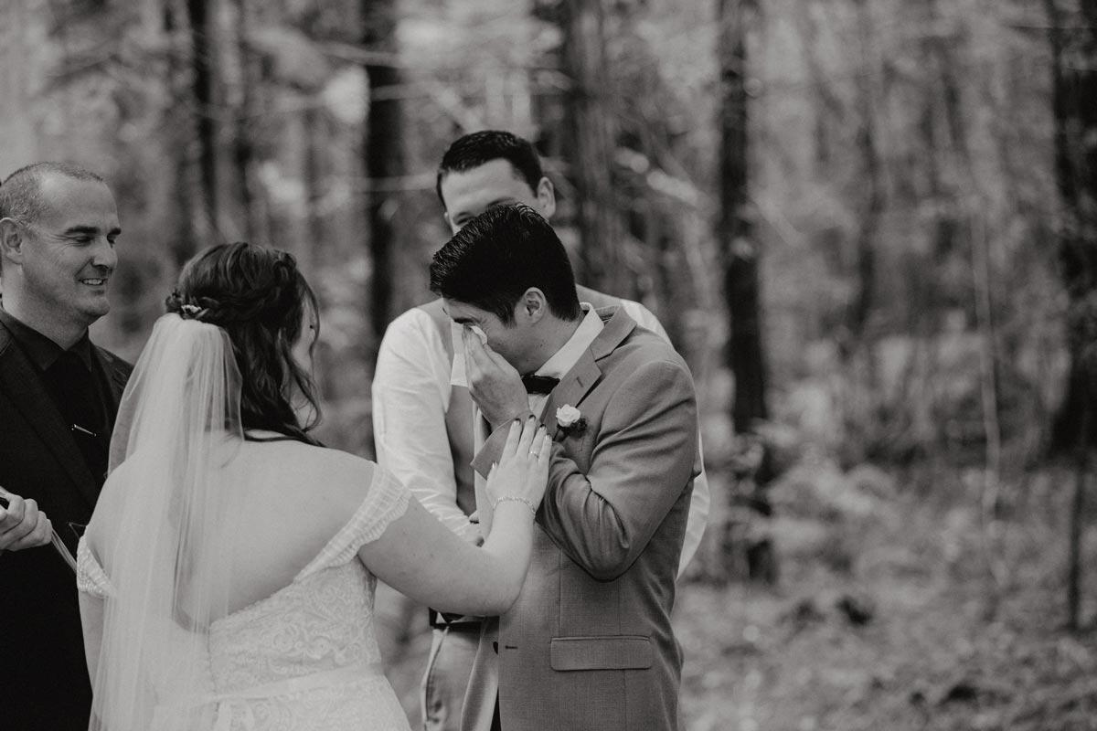 redwoods wedding photos rotorua under the sails ceremony groom crying