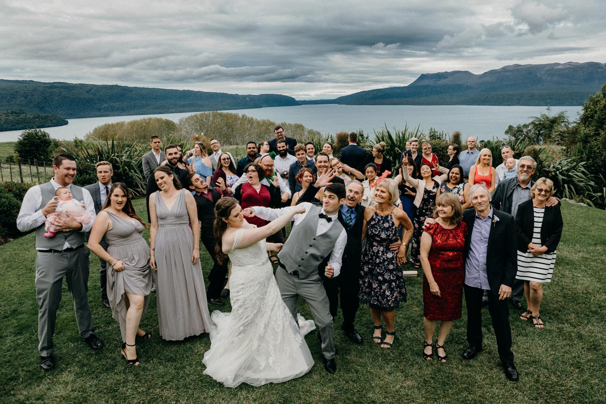 lake tarawera wedding group photo black barn sarah weber photography