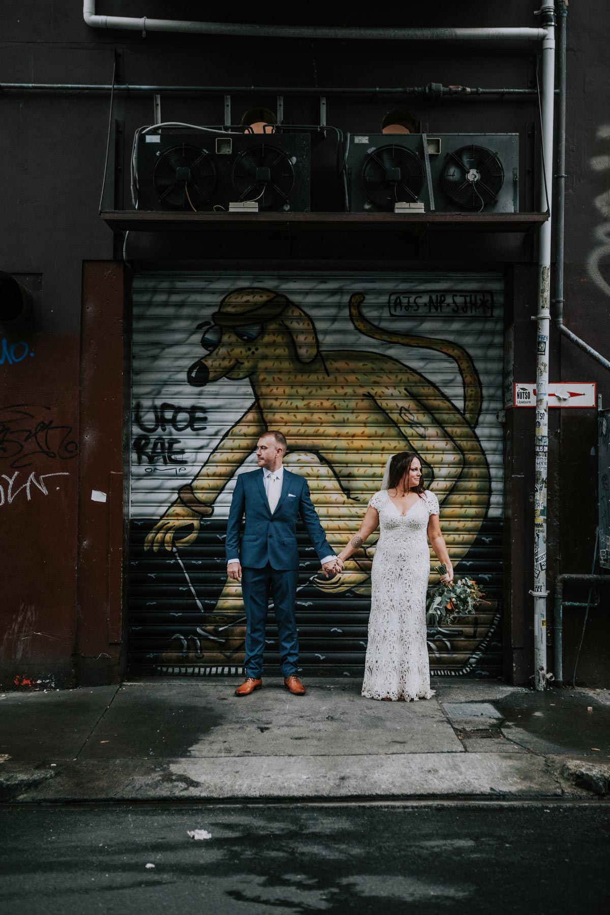 Chancery Chambers Wedding Auckland Cross Street urban graffiti wedding photo ideas Sarah Weber Photography