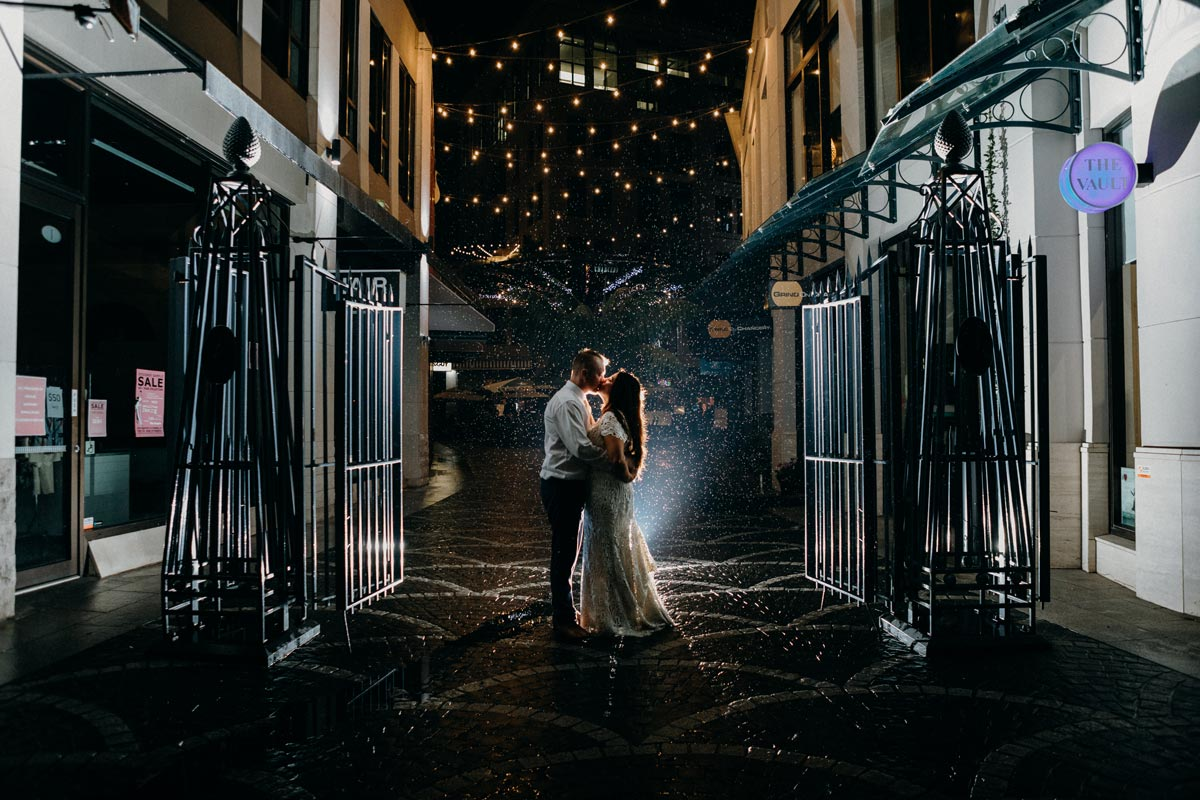 Chancery Chambers Wedding Auckland CBD law society building rain night photo sarah weber photography