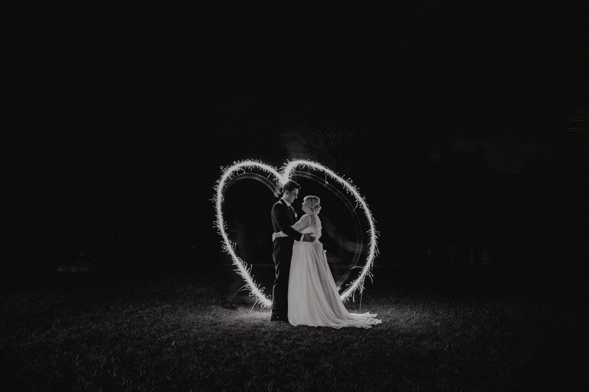 Markovina wedding photos sparkler heart night photography Vineyard Estate sarah weber photography