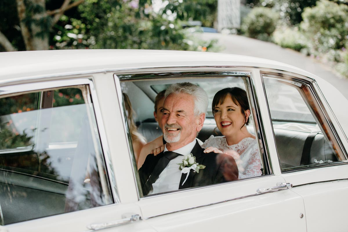 alberton wedding auckland historical wedding ceremony bride car arrival sarah weber photography