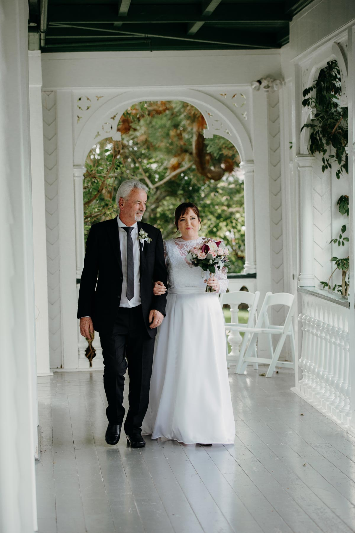 alberton wedding auckland historical wedding ceremony venue hire dad bride walking down aisle sarah weber photography