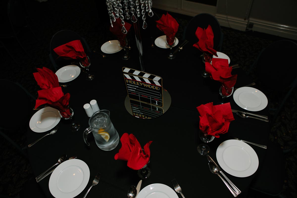 Hollywood table decor at Tamaki College School Ball sorrento in the park cornwall park auckland sarah weber photography