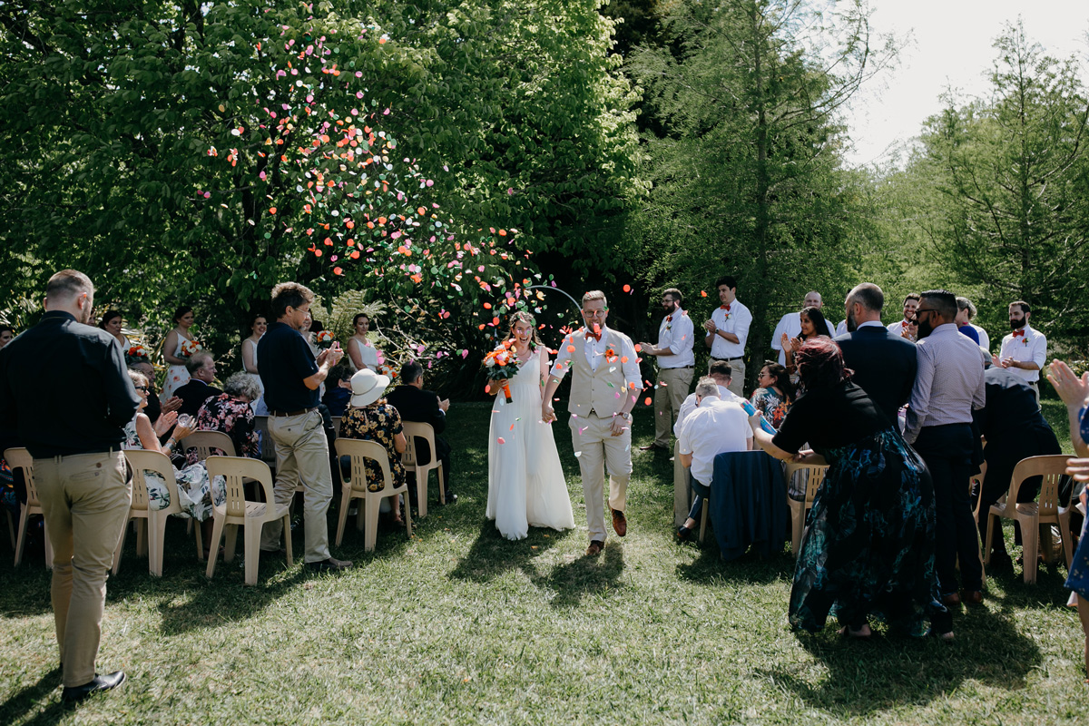 Coatesville settlers hall auckland wedding ceremony recessional by sarah weber photography