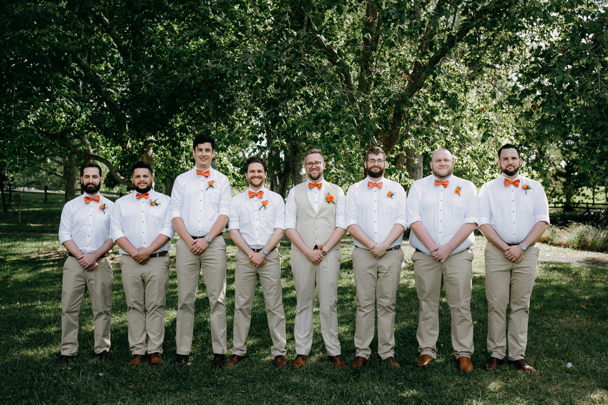 Groomsmen wedding photo at coatesville settlers hall auckland by sarah weber photography