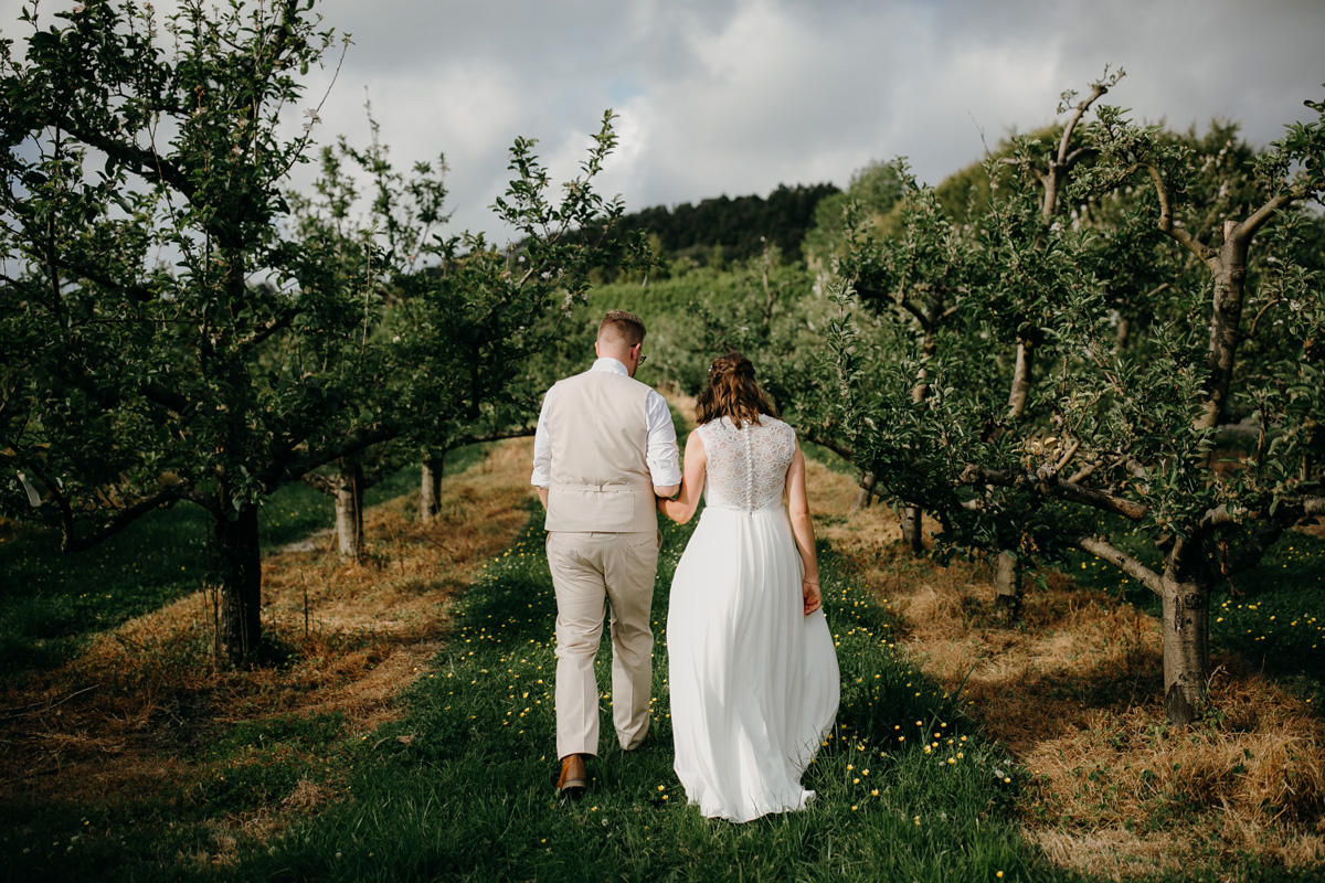 Auckland bride and groom walking in Windmill Orchards from coatesville settlers hall wedding