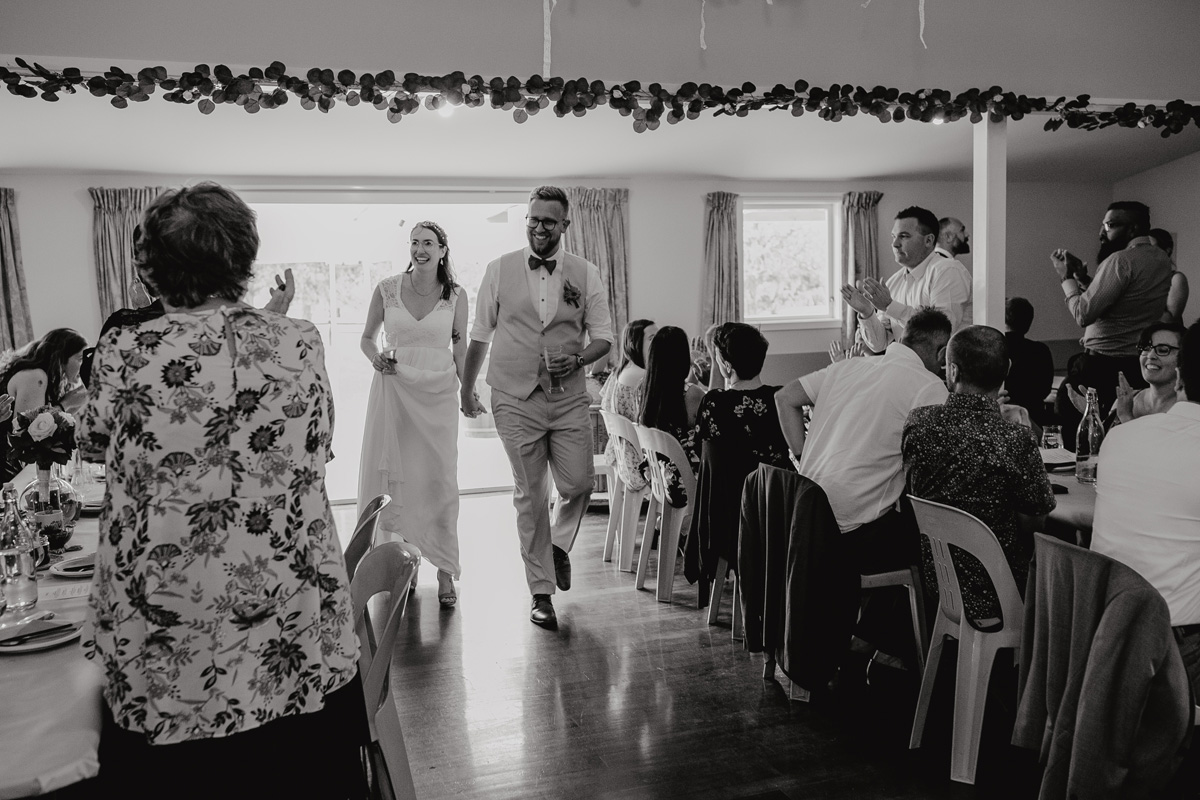 coatesville settlers hall wedding auckland bride and groom grand enterance photos by sarah weber photography