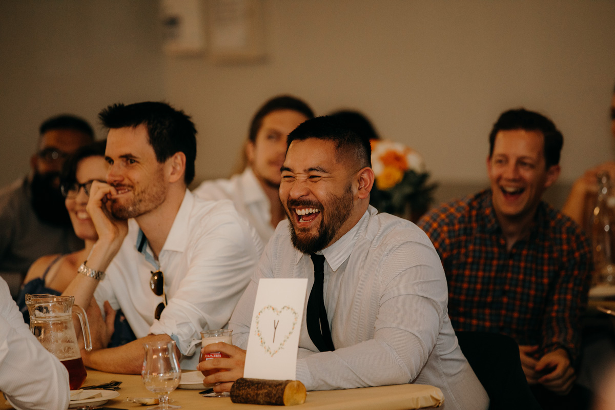 coatesville settlers hall wedding auckland guest laugh photos by sarah weber photography