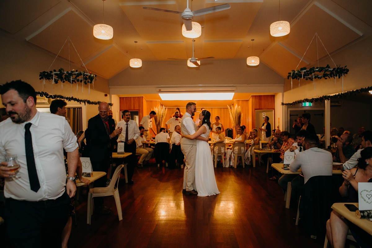 coatesville settlers hall wedding auckland bride and groom first dance at reception photos by sarah weber photography
