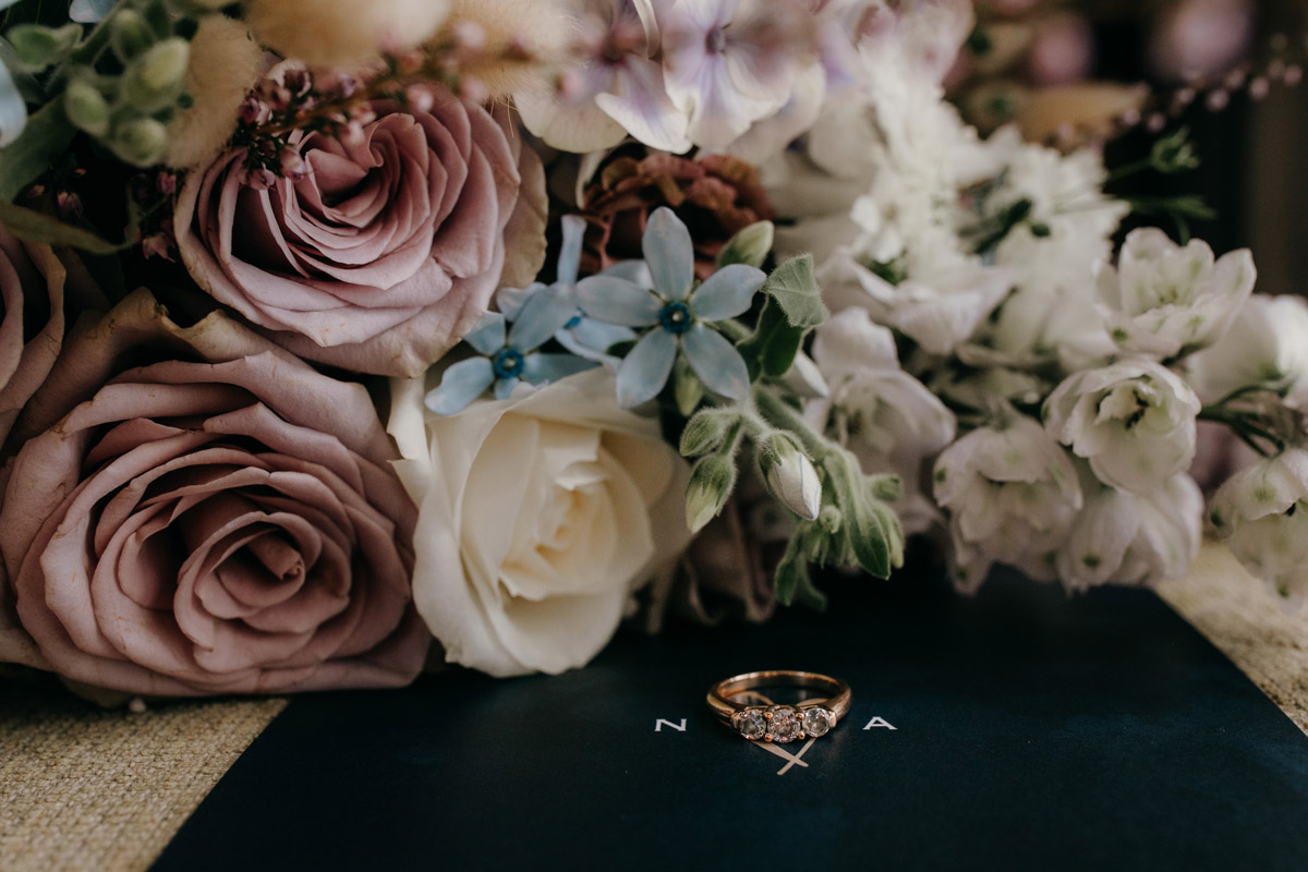 Brides flowers and engagement ring closeup Auckland wedding photo by Sarah Weber Photography