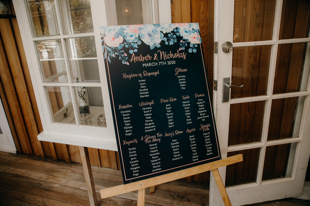 Seating Chart sign outside The Brigham wedding reception venue in Whenuapai, Auckland photo by Sarah Weber Photography