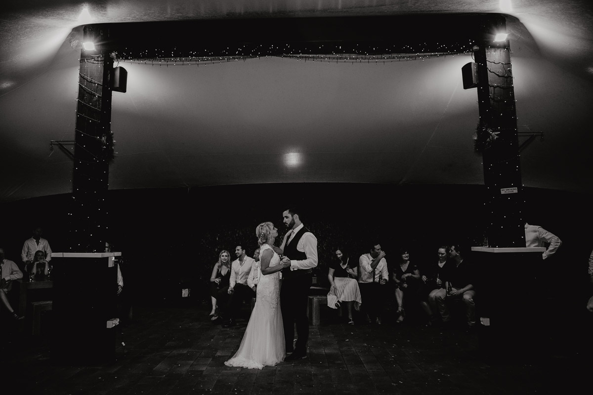 Bride and Groom first dance at The Brigham wedding reception blakc and white photo by Sarah Weber Photography