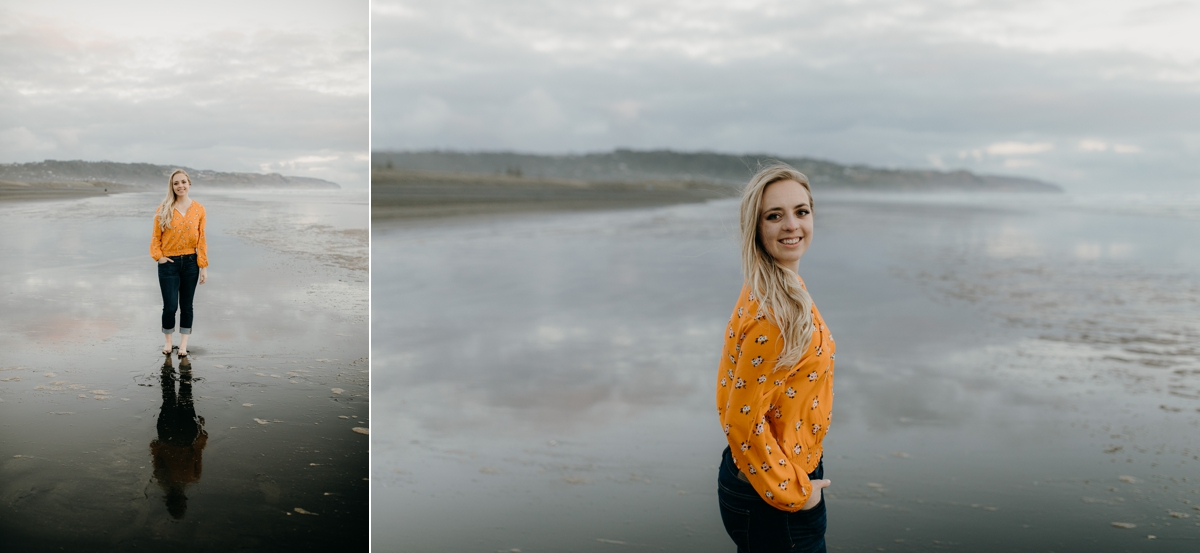 bride to be portrait session at muriwai beach auckland new zealand during a golden light evening lifestyle engagment pre-wedding couple photoshoot by sarah weber photography