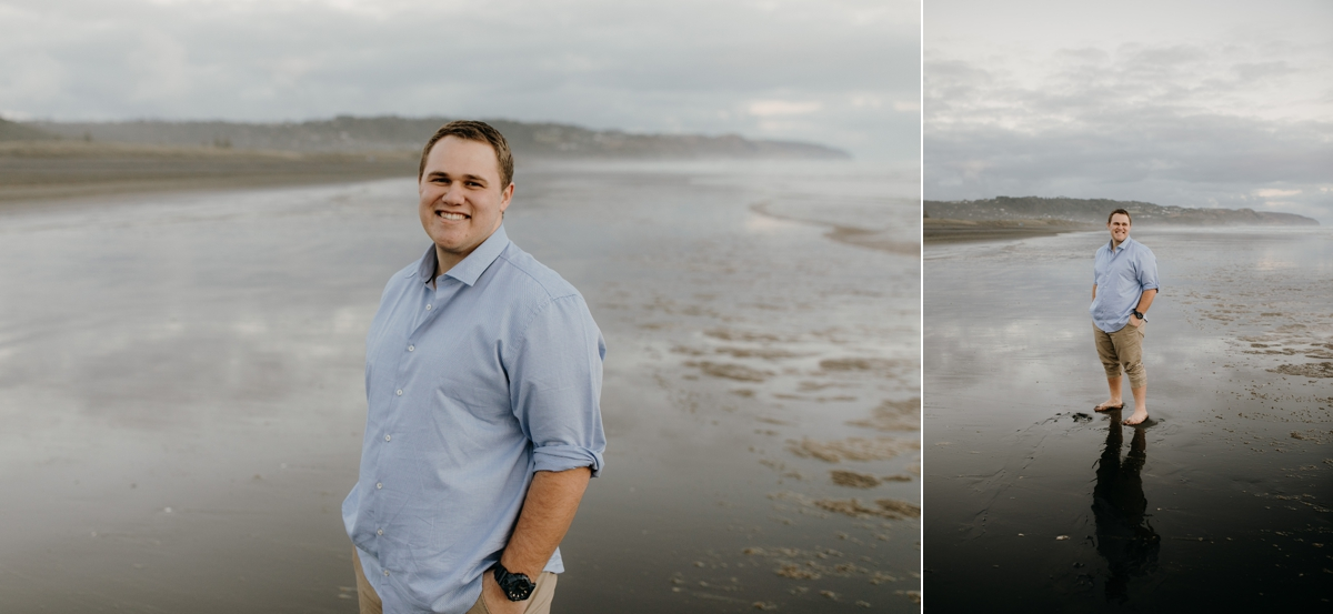 groom to be portrait session at muriwai beach auckland new zealand during a golden light evening lifestyle engagment pre-wedding couple photoshoot by sarah weber photography