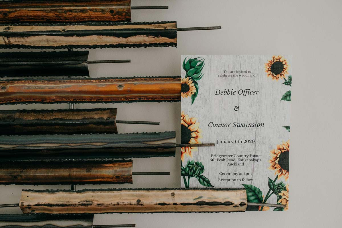 wedding invitation for bridgewater country estate wedding. Garden venue in Kaukapakapa, Auckland photo by sarah weber photography