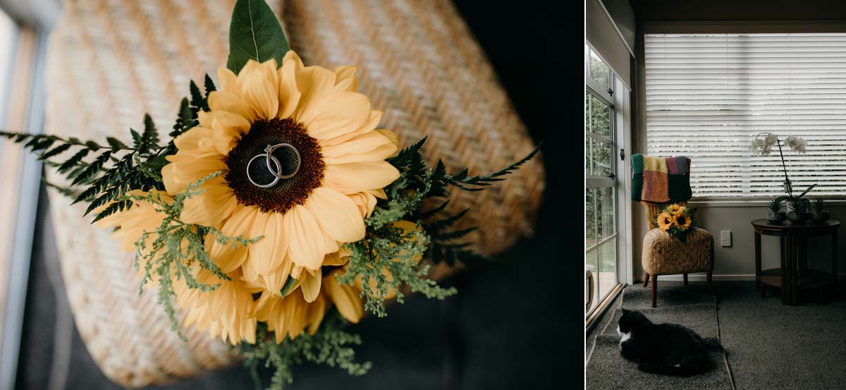 rings on brides sunflower bouquet for bridgewater country estate wedding. Garden venue in Kaukapakapa, Auckland photo by sarah weber photography