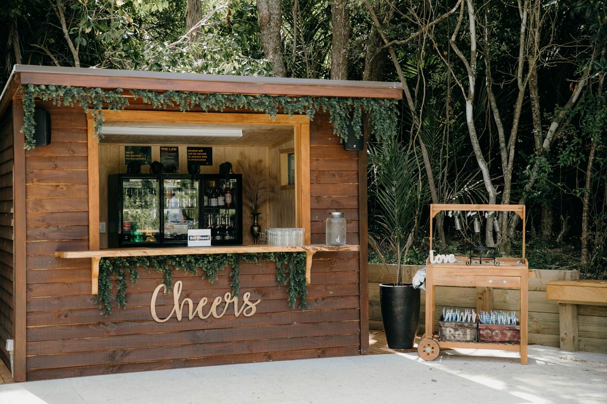 bridgewater country estate garden bar ready for wedding in Kaukapakapa, Auckland photo by sarah weber photography