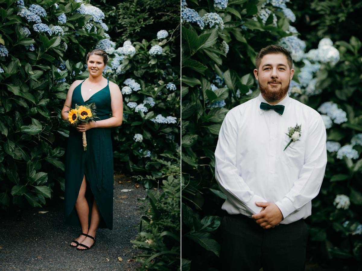 bridemaid and groomen photos in Hydrangea flowers at bridgewater country estate venue in Kaukapakapa, Auckland photo by sarah weber photography