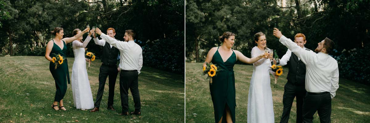 bridal party cheers and drinks photos on old tennis court at bridgewater country estate venue in Kaukapakapa, Auckland photo by sarah weber photography