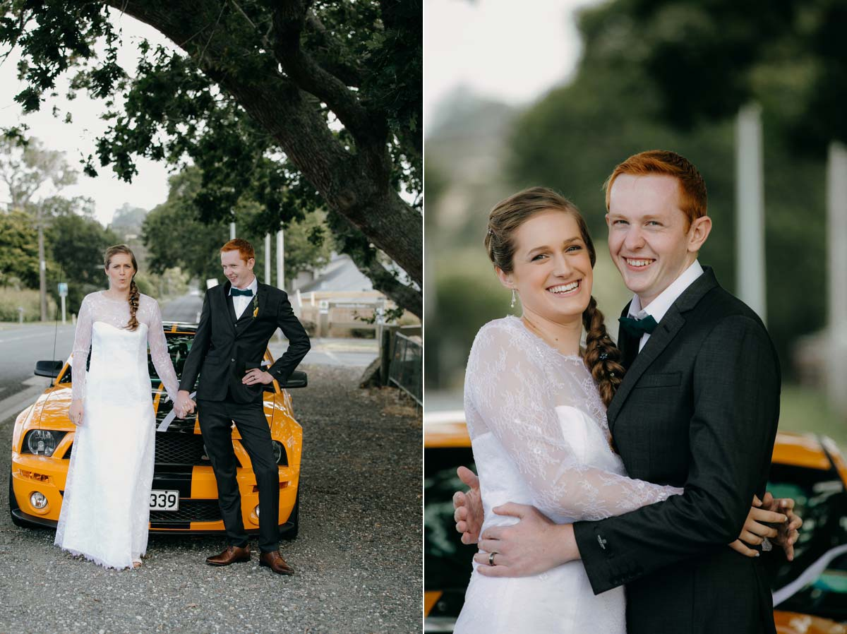 bride and groom photos with yellow shelby cobra mustang car at bridgewater country estate venue in Kaukapakapa, Auckland photo by sarah weber photography