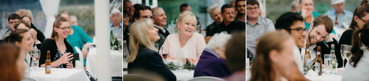 guests laughing at speeches during wedding reception at bridgewater country estate venue in Kaukapakapa, Auckland photo by sarah weber photography