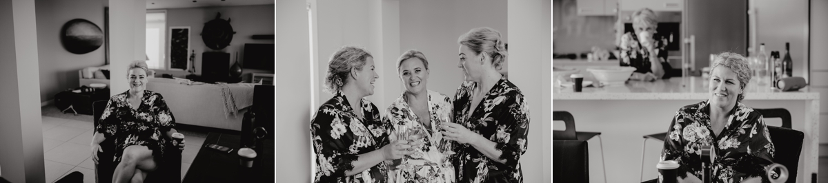 bride and bridesmaids getting ready at the dunes, omaha lodge before the stables matakana wedding photos by sarah weber photography