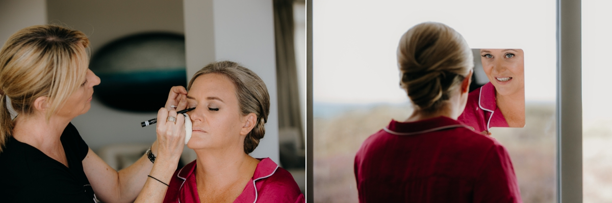 bride makeup and hair getting ready at the dunes, omaha lodge before the stables matakana wedding photos by sarah weber photography